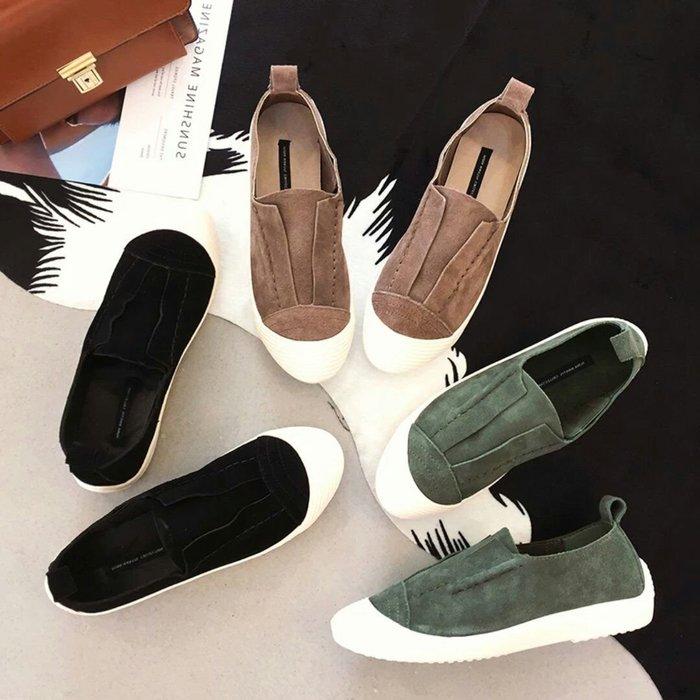 韓國秋冬磨砂真皮懶人鞋
