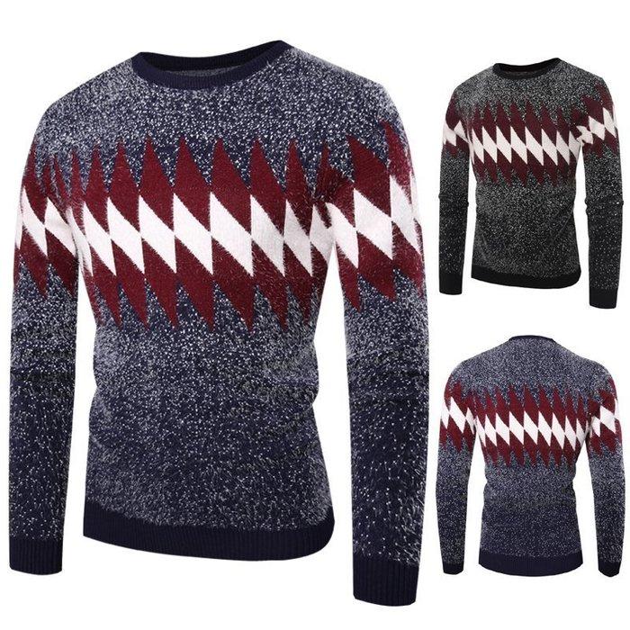 『潮范』 WS11 新款外貿WISH圓領3D鏤空格紋針織衫 男士拼色格紋毛衣 線衫NRG2635