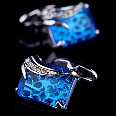 ☆TA精品☆ 男士精品-袖扣-法式水晶藍鑽袖扣 521832671224