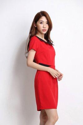 【80094】職業男女OFFICE ☆ STAR 黑邊修飾腰線紅色洋裝