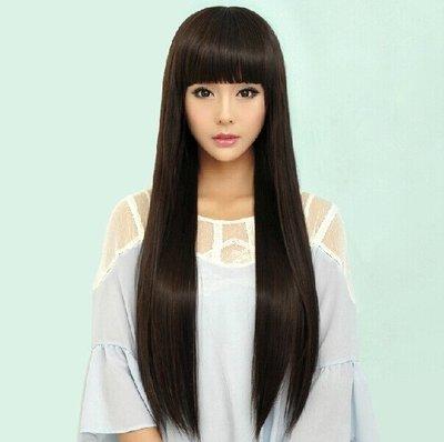 假髮女長直髮齊瀏海長髮高溫絲時尚逼真中長髮整頂假髮套新款