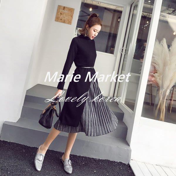 ☆ Marie Market ☆ 韓國訂單 Party必備洋裝 長袖針織毛衣開岔拼接百褶金絲絨洋裝