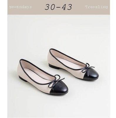 大尺碼女鞋小尺碼女鞋圓頭拚色小香風蝴蝶結娃娃鞋平底鞋小低跟包鞋(30-43)現貨#七日旅行