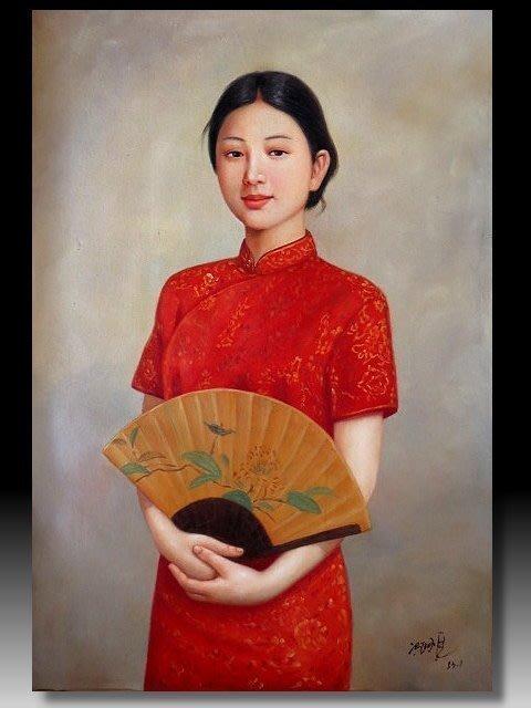 【 金王記拍寶網 】U1366 中國近代油畫家 名家款 手繪油畫一張 美人圖 ~ 罕見系列作品 稀少 藝術無價~