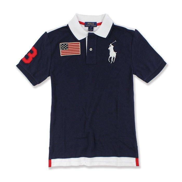 美國百分百【全新真品】Ralph Lauren Polo衫 RL 上衣 短袖 國旗 大馬 深藍 XS號 G602