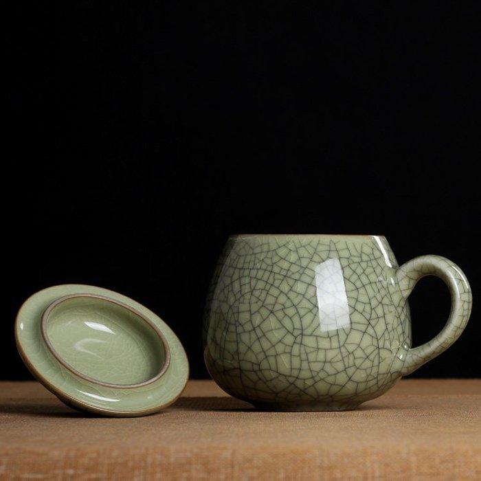 紫砂冰裂茶杯 陶瓷個人泡茶杯 帶蓋杯 汝窯龍泉青瓷