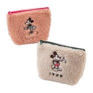 【秘密閣樓】日本迪士尼 復古風毛絨 化妝包 收納包 萬用包 手拿包 米奇 米妮 日本代購