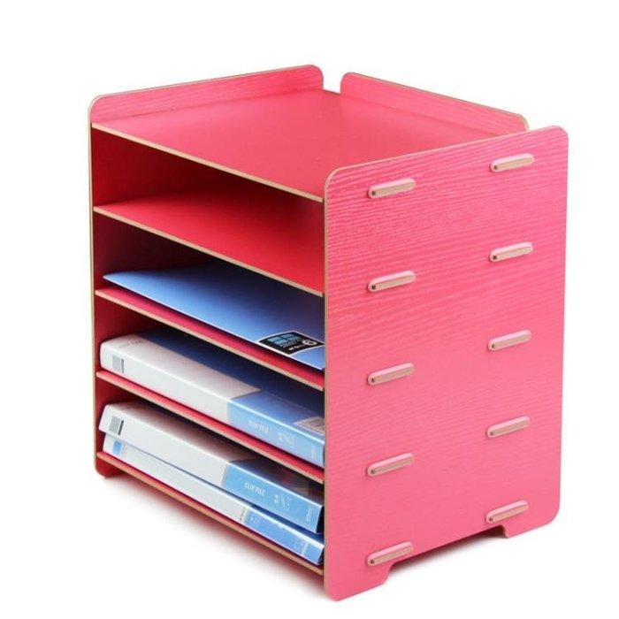 86文件架創意大政辦公用品桌面A4文件筐5層資料收納架木質文件架YS