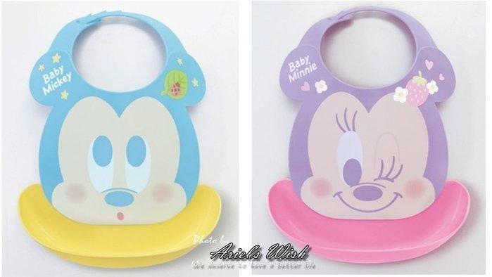 Ariel's Wish日本迪士尼阿卡將米奇米妮維尼離乳學習二合一用餐防水立體收納圍兜兜BABY滿月彌月周歲禮-日本製-