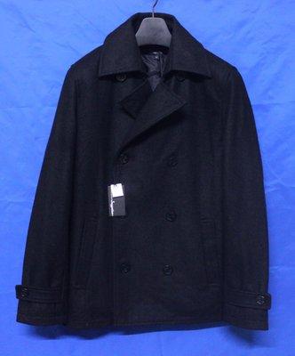 日本名牌SUGGESTION  英倫雙排扣鋪綿窄版混羊毛短大衣 (日本進口)