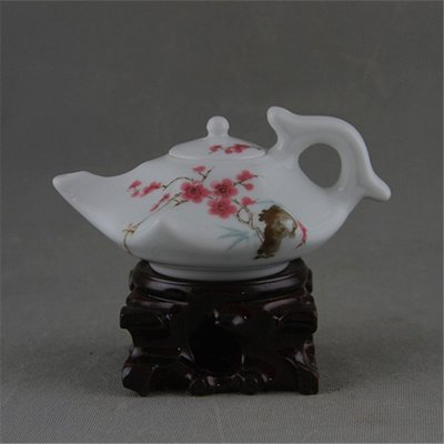 陶瓷研究所1962年落款   水點桃花   中南海特製珍品茶壺   老貨廠貨收藏擺設