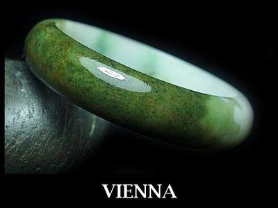 (已蒙收藏)《A貨翡翠》【VIENNA】《手圍17.3/15mm版寬》緬甸玉/冰種特濃楓葉綠/玉鐲/手鐲F-027