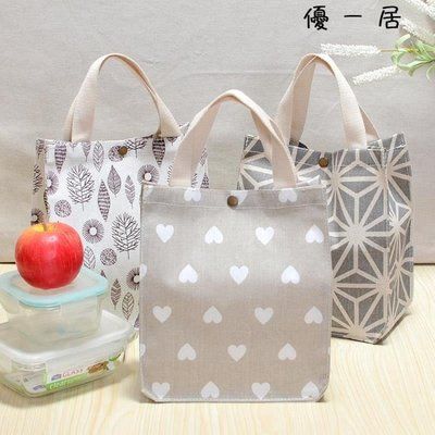 小清新棉麻布防水小拎袋飯盒袋便當包帆布手提袋Y-1311