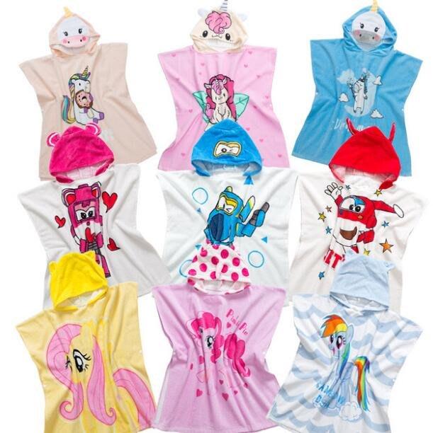 莎芭 寶寶女孩純棉吸水透氣兒童卡通浴袍獨角獸帶帽鬥篷浴巾 中小童1-6歲