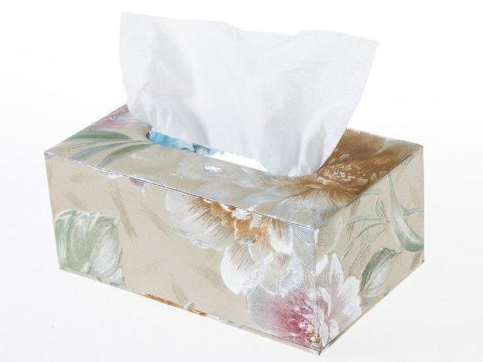 歐式抽取式面紙盒 皮革面料衛生紙盒 – 中 – 淡雅荷花 ZA-42363