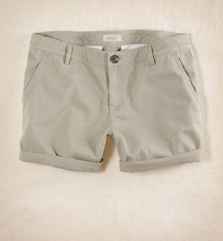 AMERICAN EAGLE_女裝_Aerie Twill Short 經典斜紋反折短褲