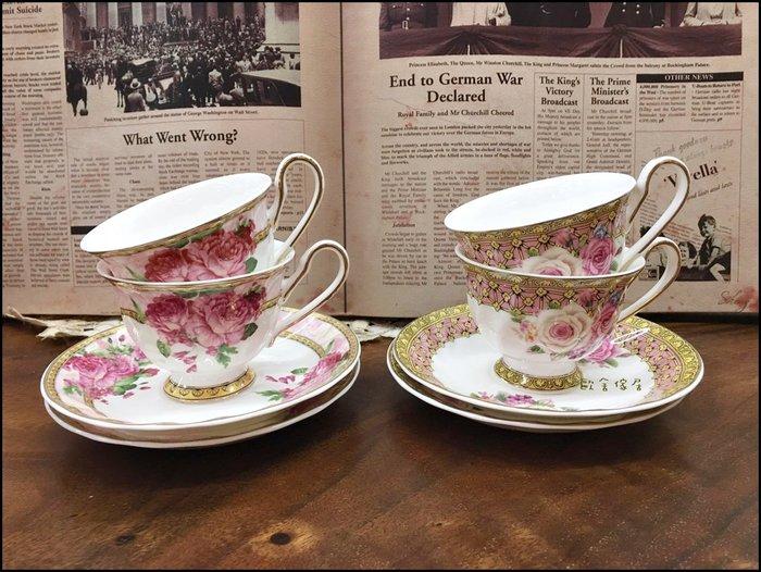 英式風 瓷製白色咖啡杯盤組 2杯+2盤 古典玫瑰花茶杯對杯下午茶宴客送禮入厝生日收藏餐具新居落成【歐舍傢居】
