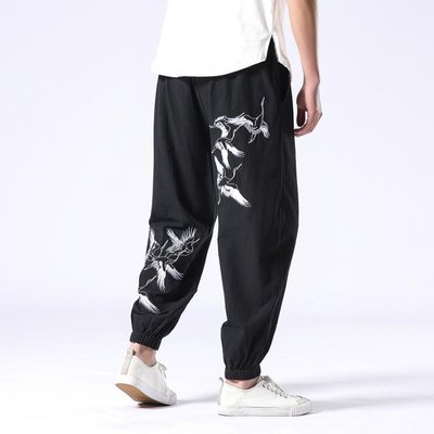 中國風束腳褲 復古中式刺繡小腳褲子 男寬鬆大尺碼哈倫休閒褲