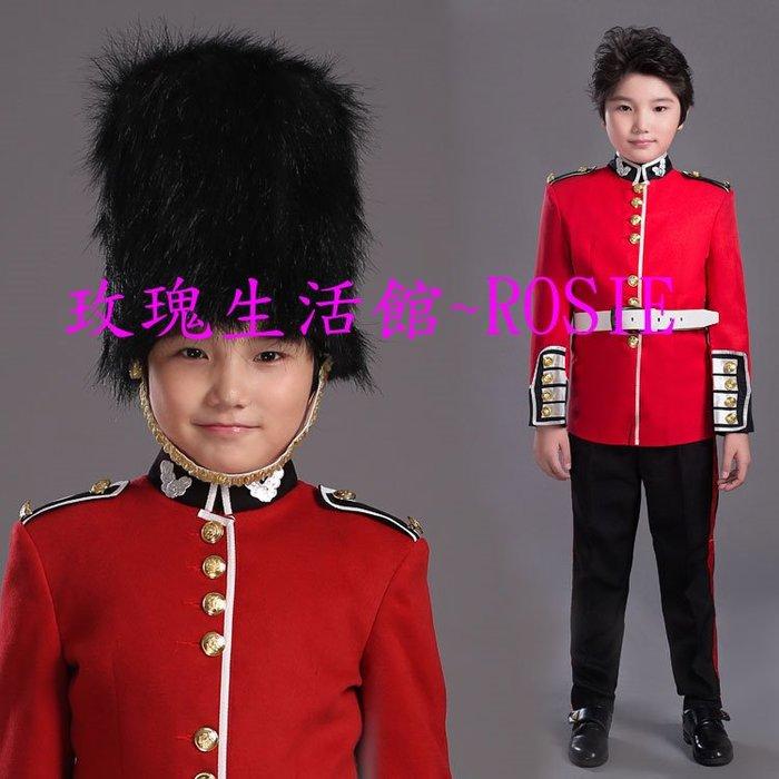 【玫瑰生活館】~ 兒童英國皇家守衛隊軍服,鼓手服,高頂帽軍隊服,表演服S, M,L 紅