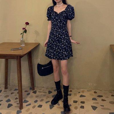 夏季洋裝法式復古碎花小個子顯高時尚氣質連衣裙女短裙法式