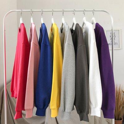 男生卫衣秋冬新款衛衣男韓版純色氣質長袖T恤圓領套頭打底衫寬松加絨衛衣