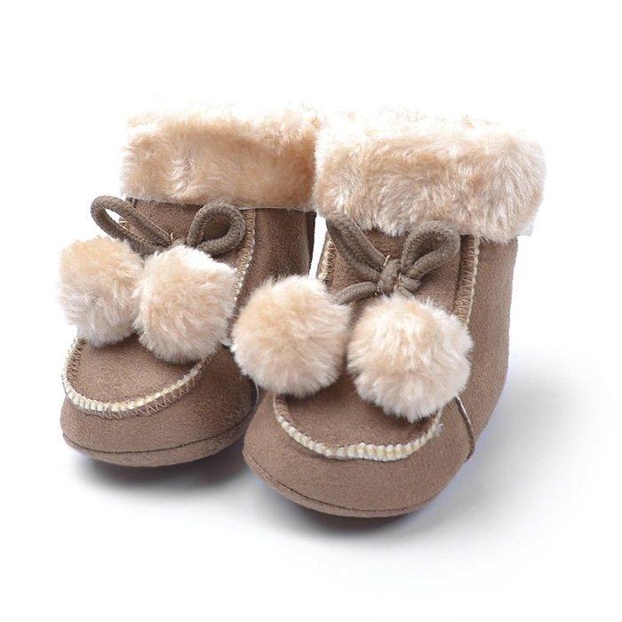 寶貝倉庫~咖啡球球保暖雪鞋~軟底鞋~學步鞋~寶寶鞋~嬰兒鞋~棉鞋~靴子~坐螃蟹車~彌月送禮~促銷價1雙127
