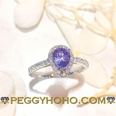【Peggyhoho】全新18K白金79份罕有紫色藍寶石配21份真鑽石戒指 Purple Sapphire   HK12.5