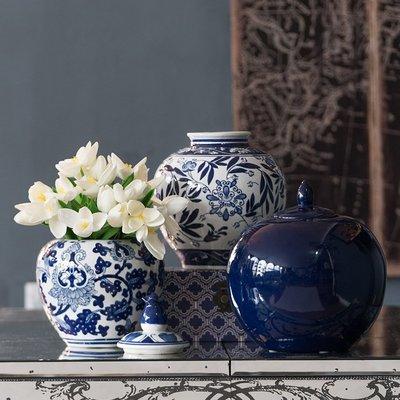 〖洋碼頭〗美國手繪青花陶瓷花瓶收納儲存罐歐式新中式混搭擺件 shx456