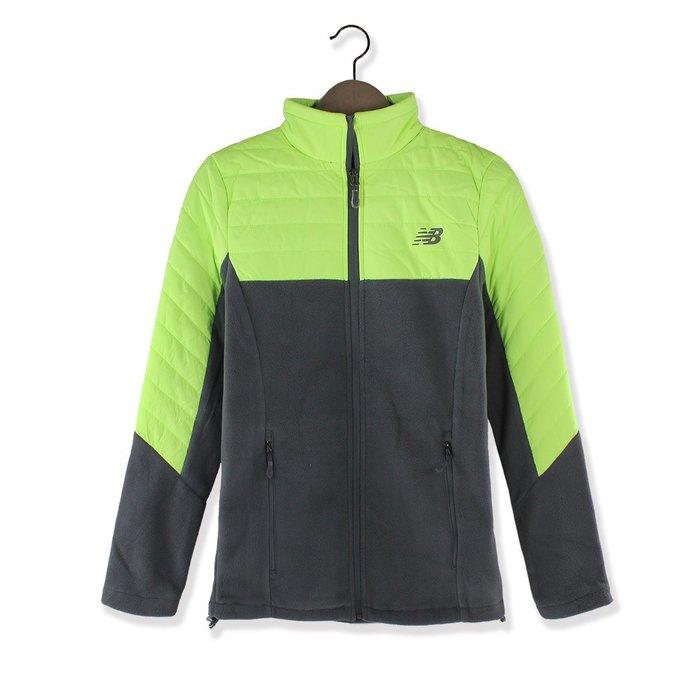 美國百分百【全新真品】New Balance 運動 立領 刷毛外套 保暖輕量 夾克 女 S號 螢光黃/灰色 H579