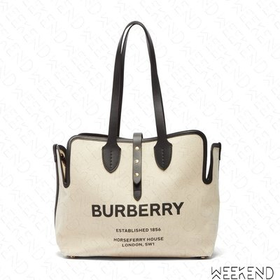 【WEEKEND】 BURBERRY Medium Canvas Logo 中款 肩背 托特包 米白 陳艾琳
