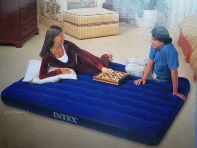 玩樂生活INTEX68755雙人特大防水植絨充氣床居家加床露營都好用203cm*183cm*22cm附修補片 送收納袋