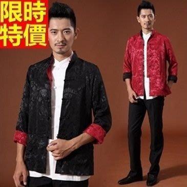 唐裝 中山裝 中式男裝(單上衣)-絲綢休閒寬鬆春裝男西裝外套7色66ac29[上海進口][米蘭精品]