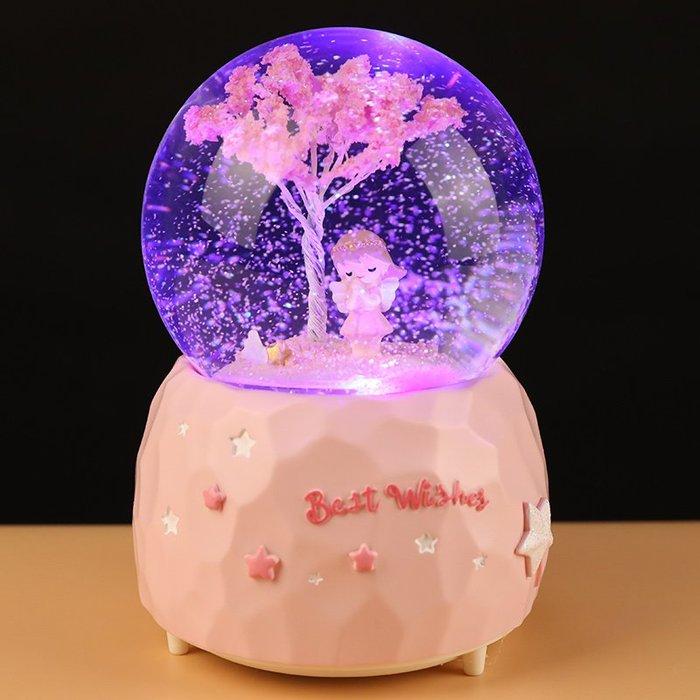 少女櫻花天使水晶球音樂盒旋轉雪花送女生兒童發光生日禮物八音盒
