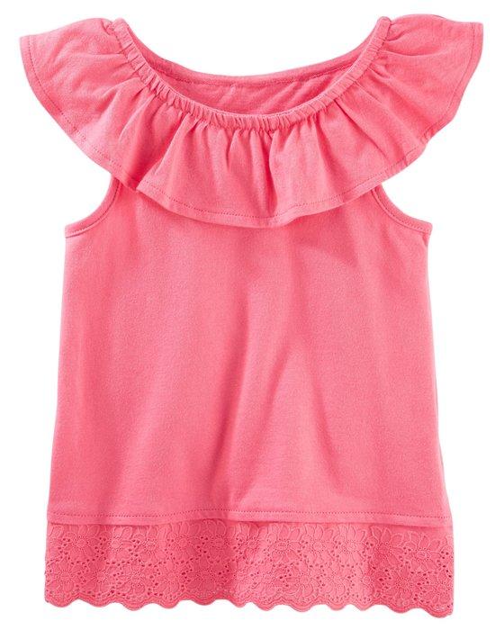 小米媽美國小鋪 oshkosh 春夏好漂亮超可愛粉色荷葉領拼接蕾絲下擺上衣 3T