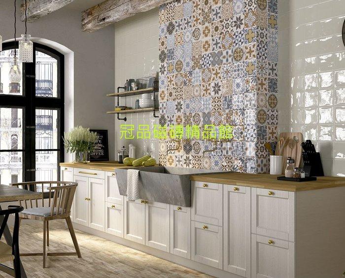 ◎冠品磁磚精品館◎西班牙進口精品 亞曼尼亮釉面素磚及花磚 –15X15CM