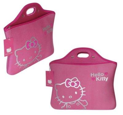【卡漫迷】出清~ Hello Kitty 10.1吋 筆記型電腦 避震袋 粉 ㊣版 手提袋 筆電 保護套 防塵袋 防護袋