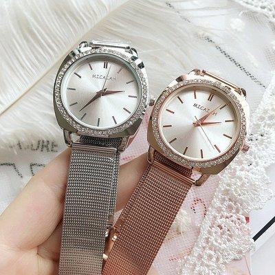 手錶 配飾 2019新品高品質合金網帶石英表女士簡約條釘刻度帶鉆網帶手表女表