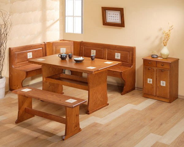 【歐舍家飾】鄉村風 實木瓷磚L型轉角椅泡茶桌椅組 原木磁磚餐桌椅組休閒桌椅板條椅會議桌小沙發組客廳組餐廳桌椅組