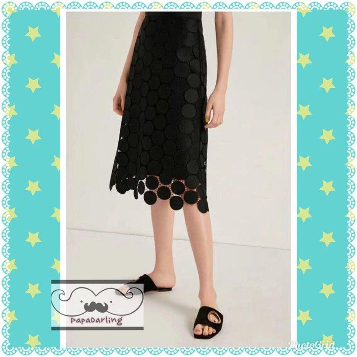 PapaDarling 19SS 時尚OL風復古蕾絲圓點修身及膝裙 a字裙 長裙