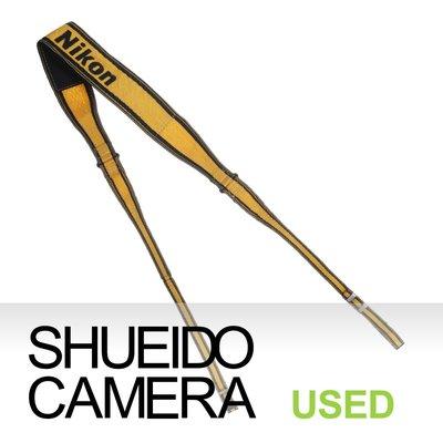 集英堂写真機【1個月保固】中古良品 / NIKON 原廠 相機背帶 肩背帶 黃黑 #1 13135
