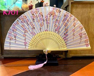 日式真絲印花扇子21公分精緻竹骨扇子K701【麗子精品公司扇子的家】日式扇子批發零售