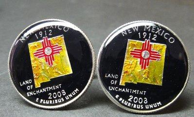 USA coin cufflinks state quarter New Mexico