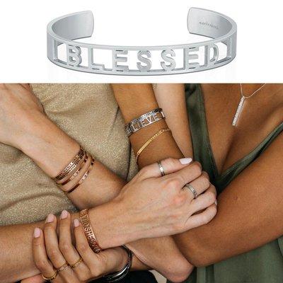 MANTRABAND 美國悄悄話 BLESSED 銀色手環 新款小寬版 幸運福氣