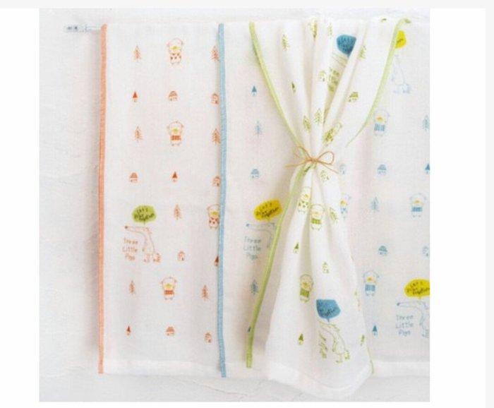 天使熊雜貨小舖~日本帶回mama's select小豬與大野狼紗布巾 現貨:綠/橘2款   全新現貨