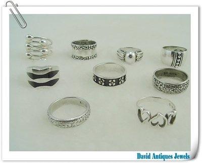 ((天堂鳥)) 925純銀造型戒指九件一組 不二價
