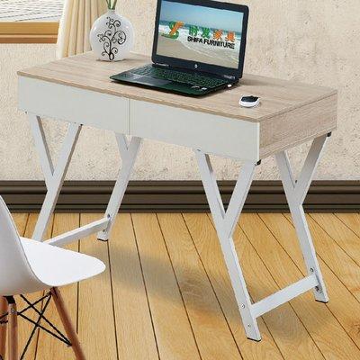 【優比傢俱生活館】19 便宜購-9616木紋白色雙色3.3尺二抽書桌/電腦桌 SH847-1