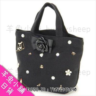 【日本黑色小香風 山茶花 蝴蝶結 繡珠珠 手提包】Z19855 羊兔小舖 日貨 日本代購 女包 手提袋