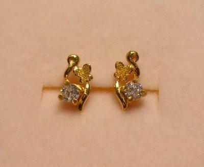 【金飾記錄】【黃金9999】§【純金蝴蝶鑲CZ鑽造型耳環】035