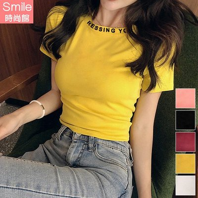 【V3072】SMILE-韓范甜美.純色字母印花領短袖上衣