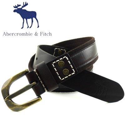 ◎美國原裝全新專櫃正品 Abercrombie&Fitch 鉚釘款單層真皮帶 ◎A&F AF AE / 古銅頭